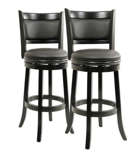 Boraam 5829 Augusta Bar Height Swivel Stool, 29-Inch, Black, 2-Pack (Ultimate Chair Black Swivel)