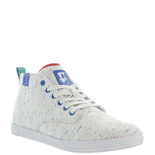 Calzature Vlado Mens Leon Metà Superiore Tela Sneaker Più Bianco