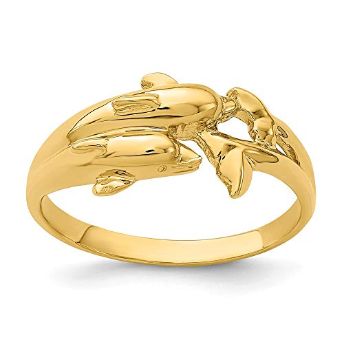 14k Yellow Gold Double Dolphins Band Ring Size 6.50 Sea Shell Life Fine Jewelry Gifts For Women For - 14k Dolphin Double Ring Gold