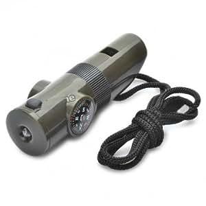 7-1 Multifunction Car Flashlight Whistle Mini Compass With LED Light
