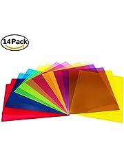 Paquete de 14 hojas de plástico de colores transparentes, corrección de gel de luz, 8.5 por 11 pulgadas, 7 colores surtidos