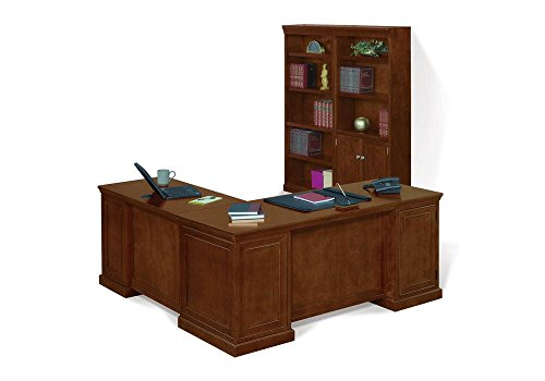 NBF Signature Series Statesman Executive L-Shaped Desk & Bookcase Set Light Chestnut CherryWeight: 743 lbs.