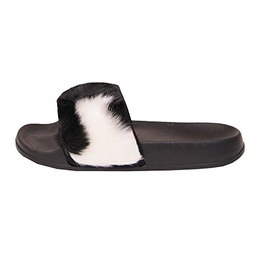 Goma Pelo Deslizante Mujer Deslizadores Zapatos Sintético DURO TIENDA Negro Múltiple Pantuflas Farrah Sandalias Sapphire xIqwF6t8nn