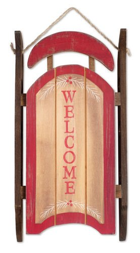 Sunset Vista Designs Wooden Welcome Sleigh Wall Decor, 12.5
