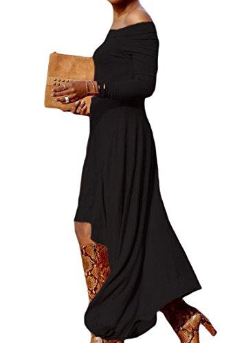 Coolred-femmes Manches Longues Pur Une Couleur? Mot? Robe Pull Col Tops Noir
