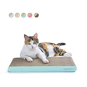 AMZNOVA Cat Scratcher, Cardboard Cat Scratchers, Durable & Recyclable Scratch Pad, Colors Series, Narrow, Baby Blue