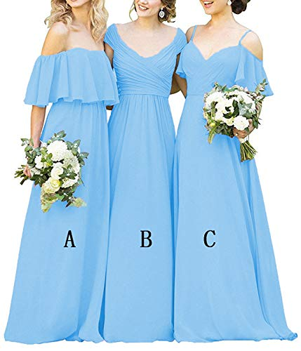 - Hatail Off Shoulder Chiffon Bridesmaid Dress Strapless A-Line Evening Gown Long