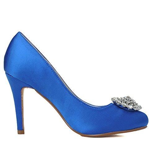Qingchunhuangtang@ Frauen Braut Hochzeit Satin Pumpen Slip on Prom Schuhe Brautjungfer Pumps Schuhe Prom Arbeitsschuhe Pumpen Größe  Die blaue 78b317