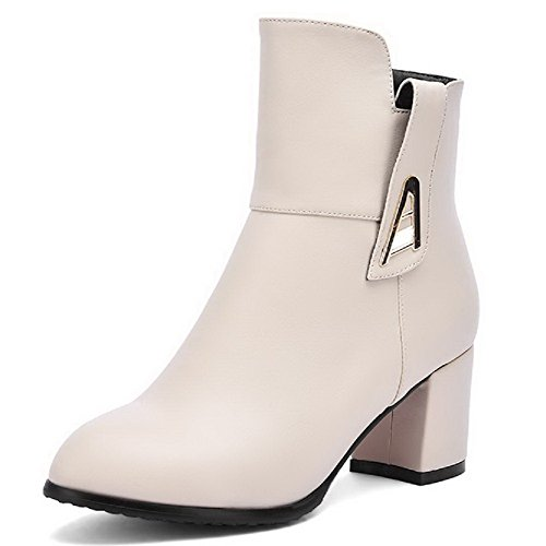 Heels Beige Soft Women's Boots Solid Material Round AgooLar Kitten Closed Toe Zipper UxwEPE0qn