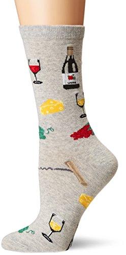 K. Bell Women's Food & Drink Novelty Casual Crew Socks, Wine & Cheese (Grey), Shoe Size: 4-10