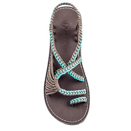 Plaka Flat Summer Sandals for Women Turquoise Gray Size 8 Palm Leaf ()