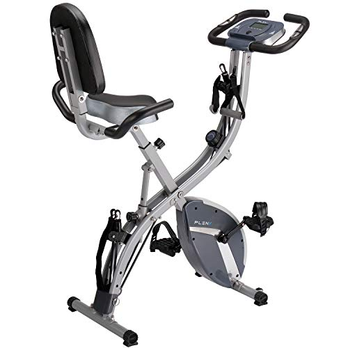 PLENY 3-in-1 Total Body Workout Exercise Bike w/Backlit Monitor, High Backrest, Arm & Adjustable Leg Resistance Bands and 300 lbs Weight Support (Gray) (Best Shoes For Elliptical Workout)