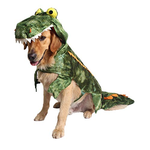 Coppthinktu Alligator Dog Costume Halloween Dog Crocodile Costume Hoodie Coats Pets Jumpsuits]()