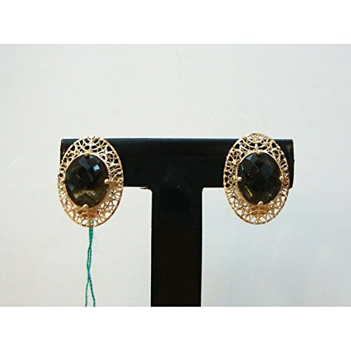 Damiata Bijoux-Boucles d'Oreilles Femme en Or jaune 18 carats à quartz avec facettes