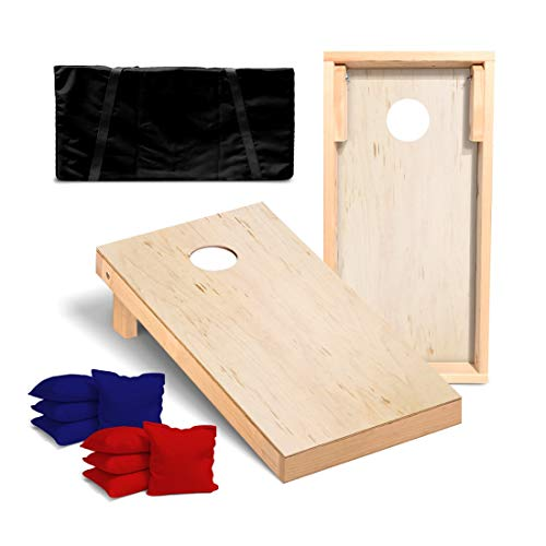 Victory Tailgate Unfinished Regulation Cornhole Bean Bag Toss Game Set with 4 Red and 4 Navy Blue Corn Filled Bags