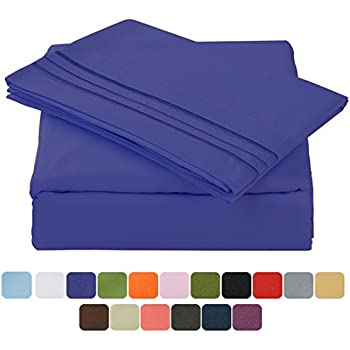 TasteLife 105 GSM Deep Pocket Bed Sheet Set Brushed Hypoallergenic Microfiber 1800 Bedding Sheets Wrinkle, Fade, Stain Resistant - 4 Piece(Royal Blue,Full)