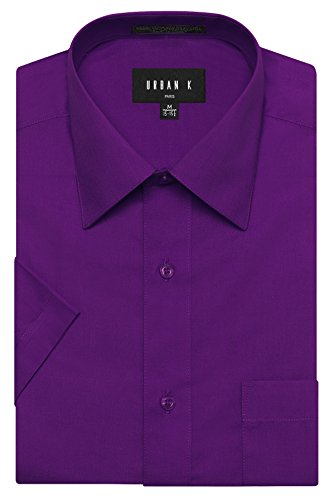 URBAN K Men's Classic Fit Solid Formal Collar Short Sleeve Dress Shirts Regular and Plus Size purple 3XL / 19-19.5 -