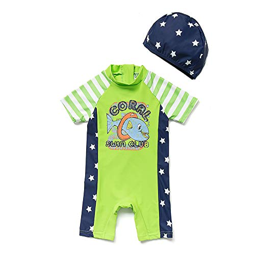 Boys Sunsuit - upandfast Kids One Piece Zip Sunsuit with Sun Hat UPF 50+ Sun Protection Baby Beach Swimsuit (Fish, 3-6 Months)