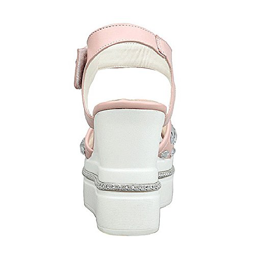 AgooLar Mujeres Pu Sólido Velcro Puntera Descubierta Plataforma Sandalia Rosa