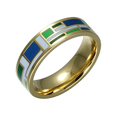 Fashionvare Women's 18K Gold Plated Handmade Enamel Ring S6 - Blue ()