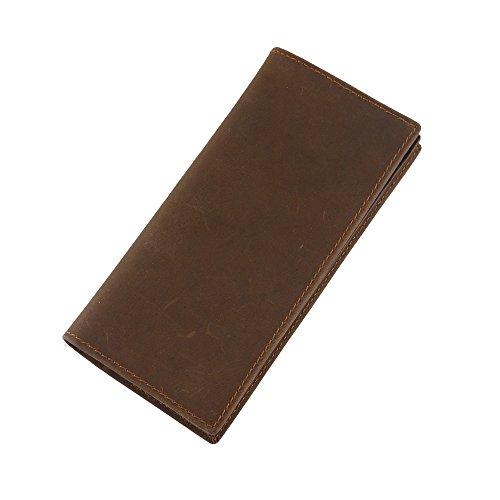Stepack Brand Men Genuine Leather Long Bifold Wallet Mutli Pocket ID Card Holder (Dark Brown)
