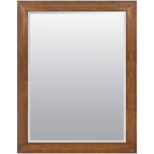 (Everly Hart Collection 36x48 Walnut Woodgrain Framed Beveled Wall or Leaner Mirrors Brown)