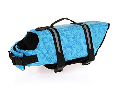- GabeFish Dog Life Jacket Vest Safety Clothes Collar Harness Saver Pet Swimming Preserver Reflective Strip Swimwear BoneBlue X-Small
