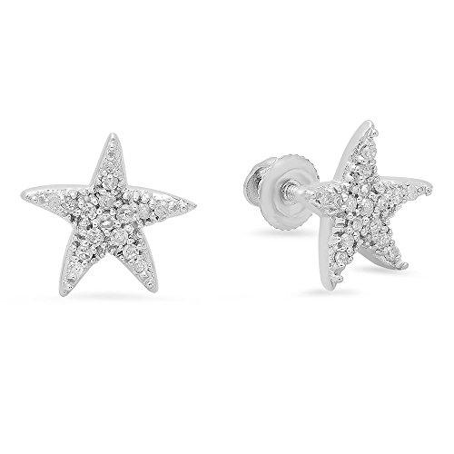 0.15 Carat (ctw) 14K White Gold Round Cut White Diamond Ladies Star Shape Fashion Stud Earrings