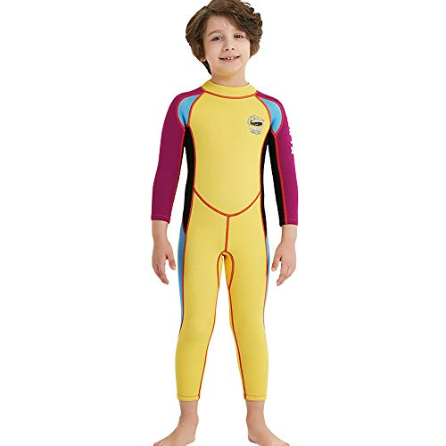 DIVE&SAIL Kids 2.5Mm Long Sleeve One Piece Full Body Wetsuit Uv Protection Thermal Swimwear Keep Warm for Scuba Diving Surfing Snorkeling Swimming Fishing for Boys Girls (Yellow, X-Large)