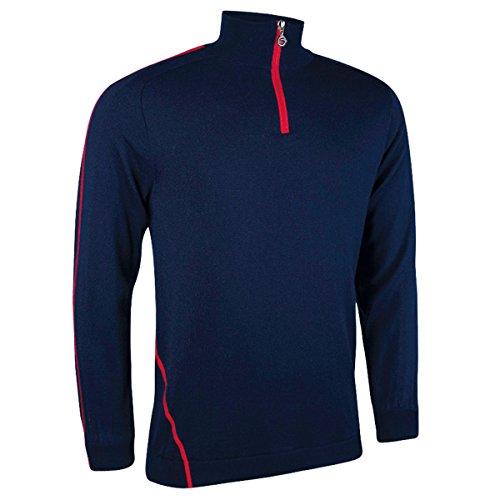 Sunderland Mens SUNML29 Water Repellent Zip Neck Performance Lined Sweater Navy/Red L