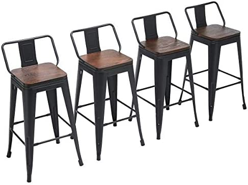 Yongchuang Metal Counter Bar Stools with Wooden Seat Low Back Pack of 4 Swivel 24 , Black