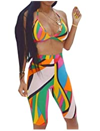 Bigbarry-CA Women Sexy 3-Piece Scarf Bra and Short Pants Printed Outfit Set