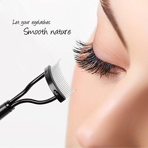 Docolor Eyelash Comb Curler Eyebrow Brush Mascara Applicator Eyelash Eye Brow Definer With Comb Cover Arc Designed Cosmetic Brushes ()