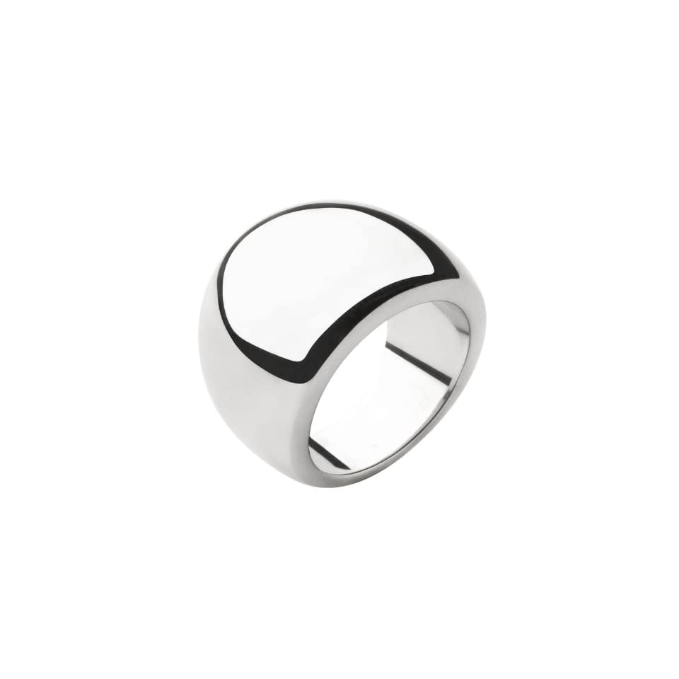 Womens Stainless Steel Ring In All Polished Steel with Raised Top   Size 6