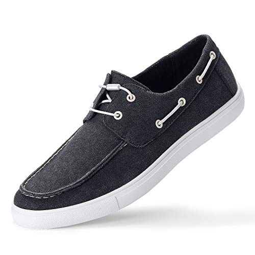 GM GOLAIMAN Men's Boat Shoes Slip On-Casual Sneaker Moc Toe Loafer Elastic Shoeslaces Honeycomb Insoles Black - Shoes Non Boat Slip