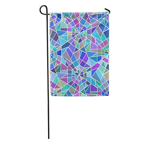 Semtomn Garden Flag Blue Pattern Broken Stained Glass Window Colorful Abstract Asymmetric Chaotic Home Yard House Decor Barnner Outdoor Stand 28x40 Inches Flag