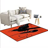 Floor Mat,Raven is Holding a Microphone Rock Music Theme Festival Party Gothic Singer,3D