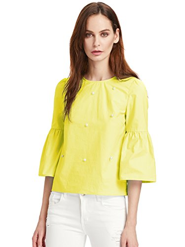 f0e463df028328 Floerns Women s Bell Sleeve Beading Casual Blouse Top