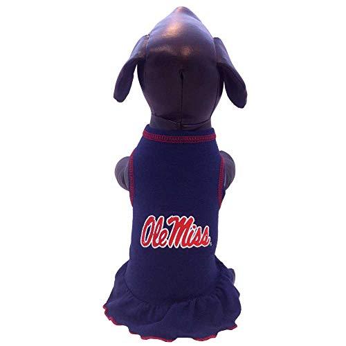 NCAA Ole Miss Rebels Cheerleader Dog Dress, Team Color, Small
