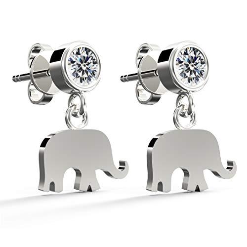 .925 Sterling Silver Cubic Zirconia Round Brilliant-Cut Stud Earrings, Elephant