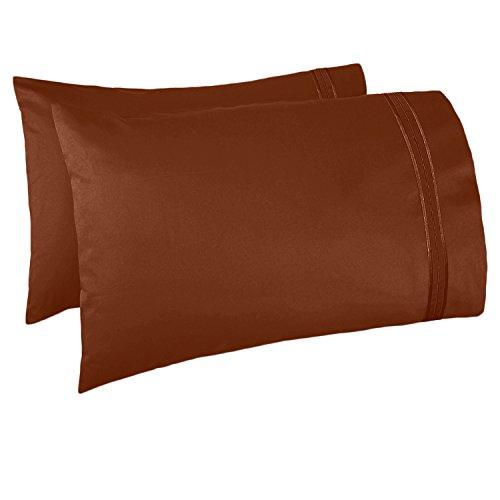 Nestl Bedding Set of 2 Premium Pillowcases - Luxury Super Soft 100% Double Brushed Microfiber, Hypoallergenic & Breathable Design, Soft & Comfortable Hotel Luxury - King - Rust Sienna (Orange Brown)