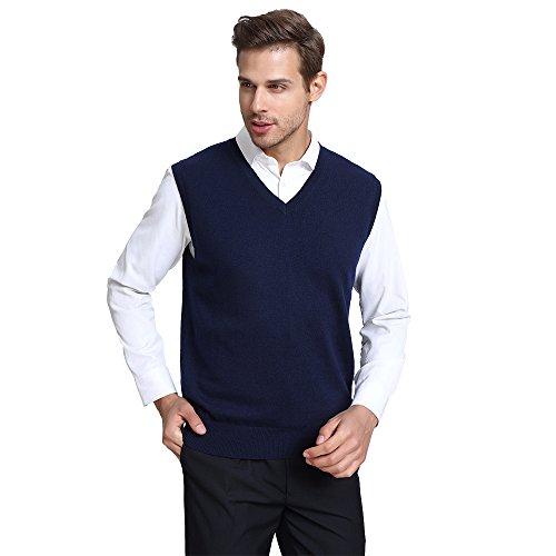 CHAUDER Men's Relax Fit V-Neck Vest Knit Sweater Cashmere Wool Blend Navy Blue, L by CHAUDER (Image #2)