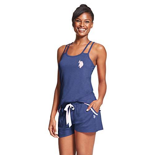 (U.S. Polo Assn. Womens 2 Piece Sleeveless Tank Top Elastic Waist Pajama Shorts Set Tribal Navy Heather 1X)