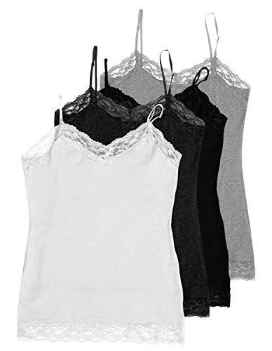 4 Pack Zenana Women's Plus Lace Trim Tank Top 1X White, Charcoal, Black, H Gray
