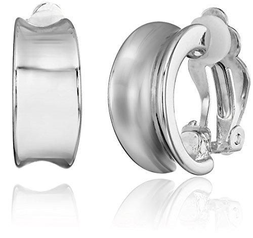 Elie Tahari Multi-Band Mini Hoop Silver Clip-On Earrings