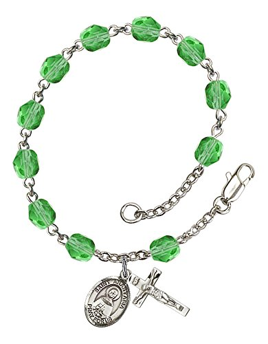 Silver Plate Rosary Bracelet features 6mm Peridot Fire Polished beads. The Crucifix measures 5/8 x 1/4. The charm features a St. Anastasia medal.