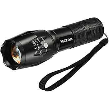 MIZOO LED Flashlight Zoomable and Adjustable Tactical Flashlight Kit with 5 Modes of Bright and Rechargeable Battery Portable Torch Lamp