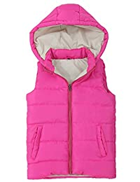 SNOW DREAMS Girls Quilted Puffer Vest Print Lined Zip Up Hood Jacket