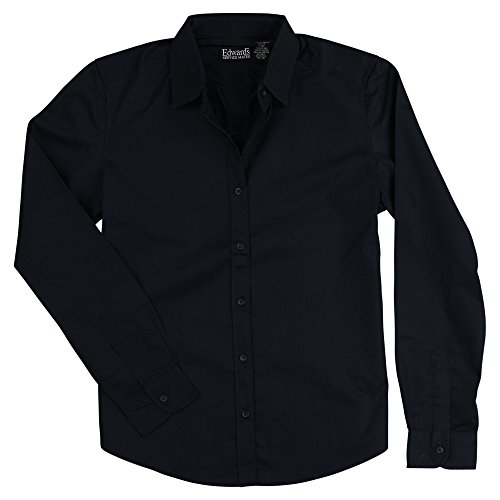 - Edwards Women's Long Sleeve Button Down Cotton Twill Shirt (Navy, Small)