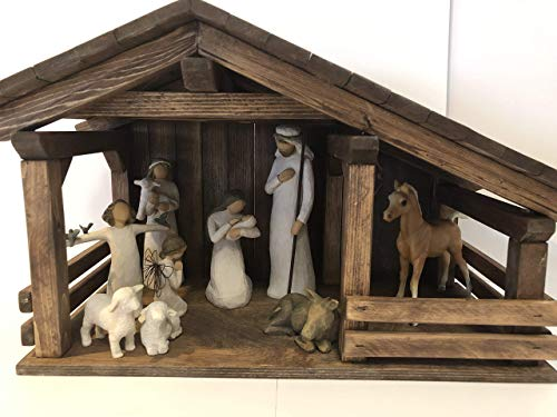 Single stall stable, Wood nativity manger, creche, Nativity displays (Small Stable Nativity)